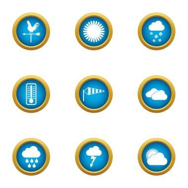 Giddy icons set, flat style