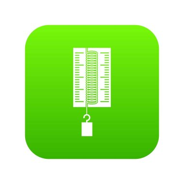 Physics dynamometer for laboratory work icon digital green