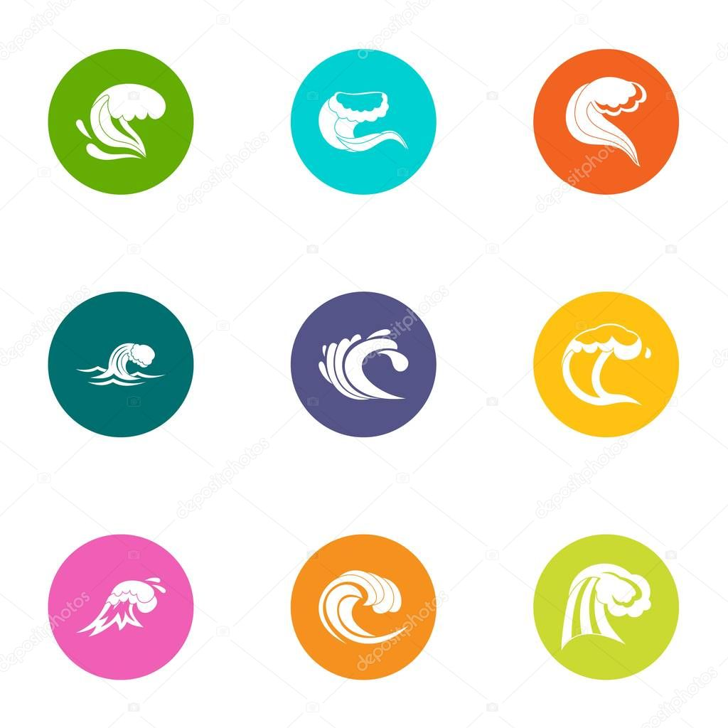 Rolling wave icons set, flat style