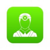 Fotografia Oftalmologo con testa specchio icona digitale verde