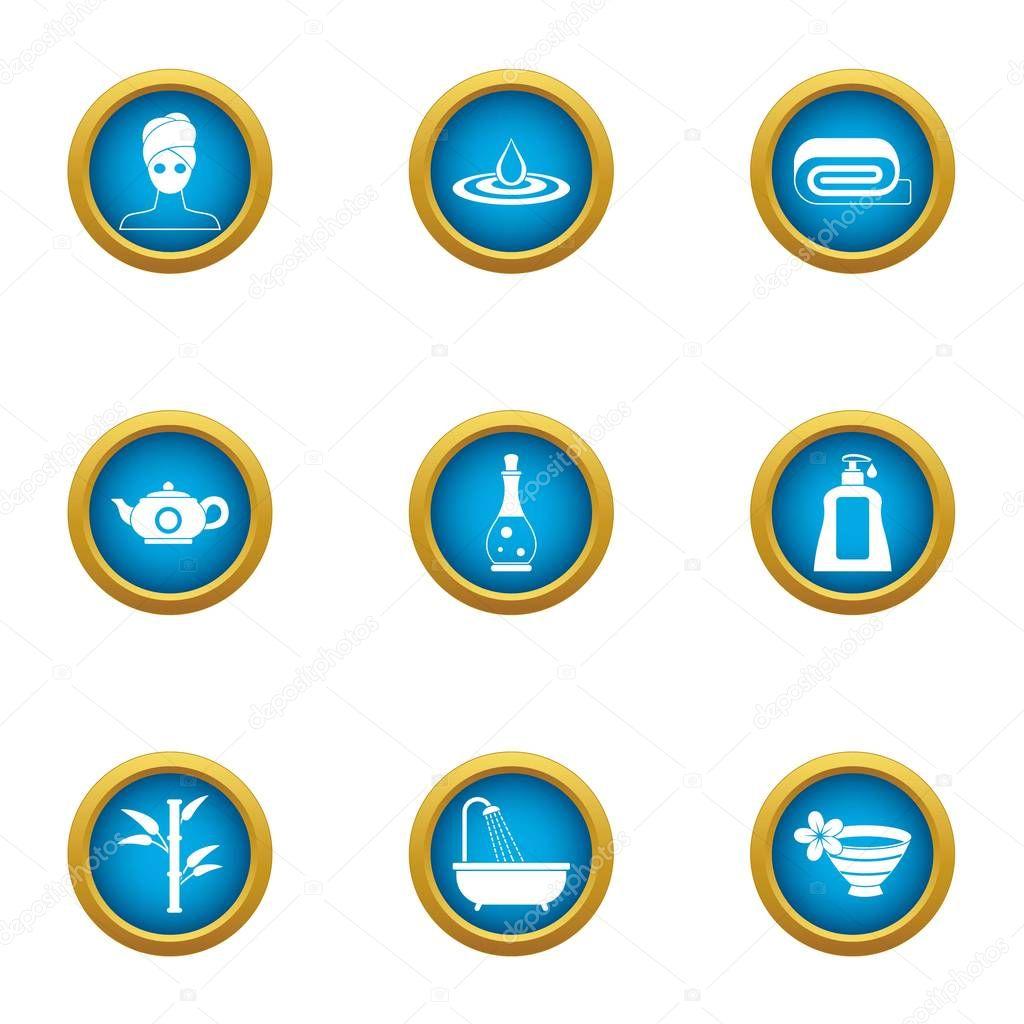 Society icons set, flat style