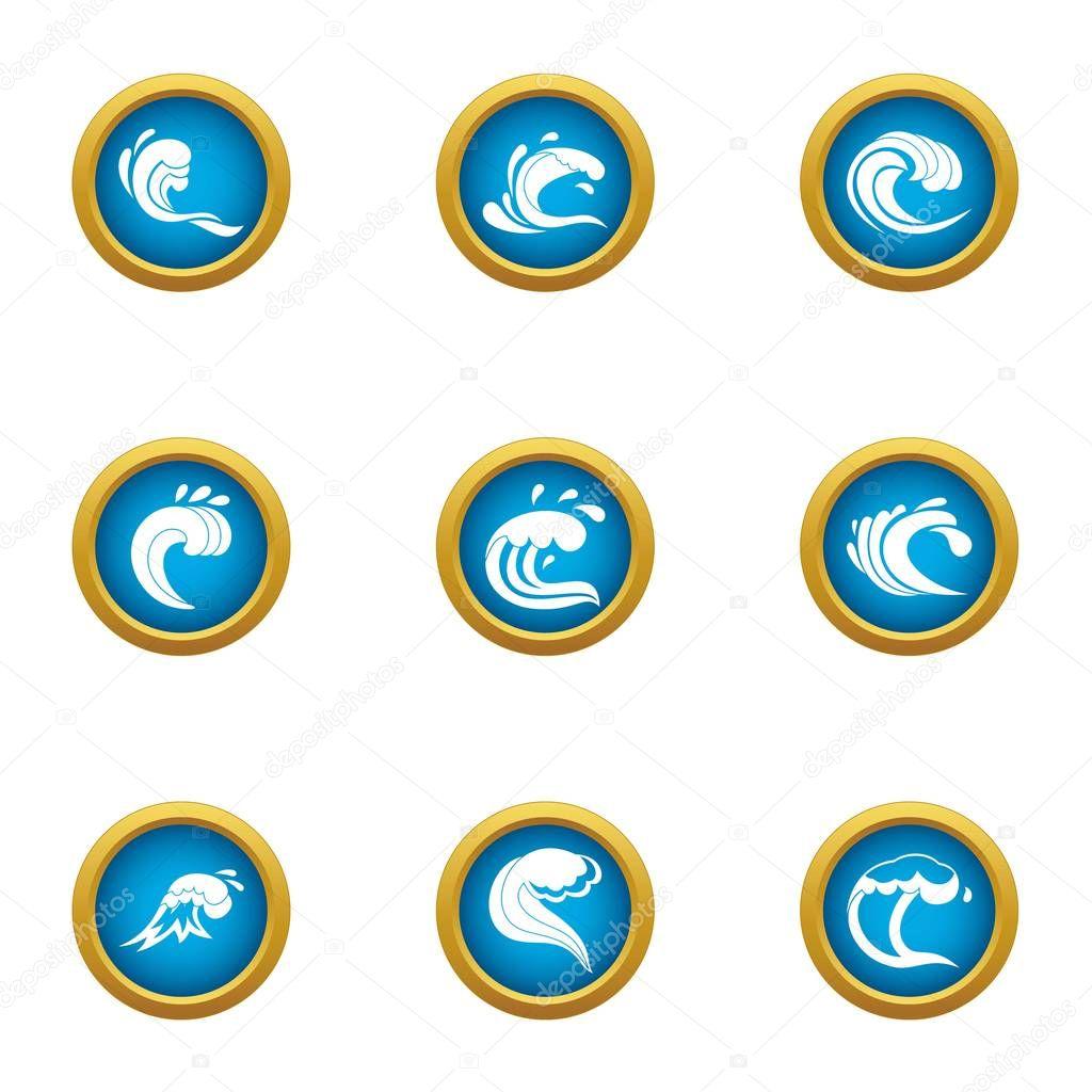 Shockwave icons set, flat style