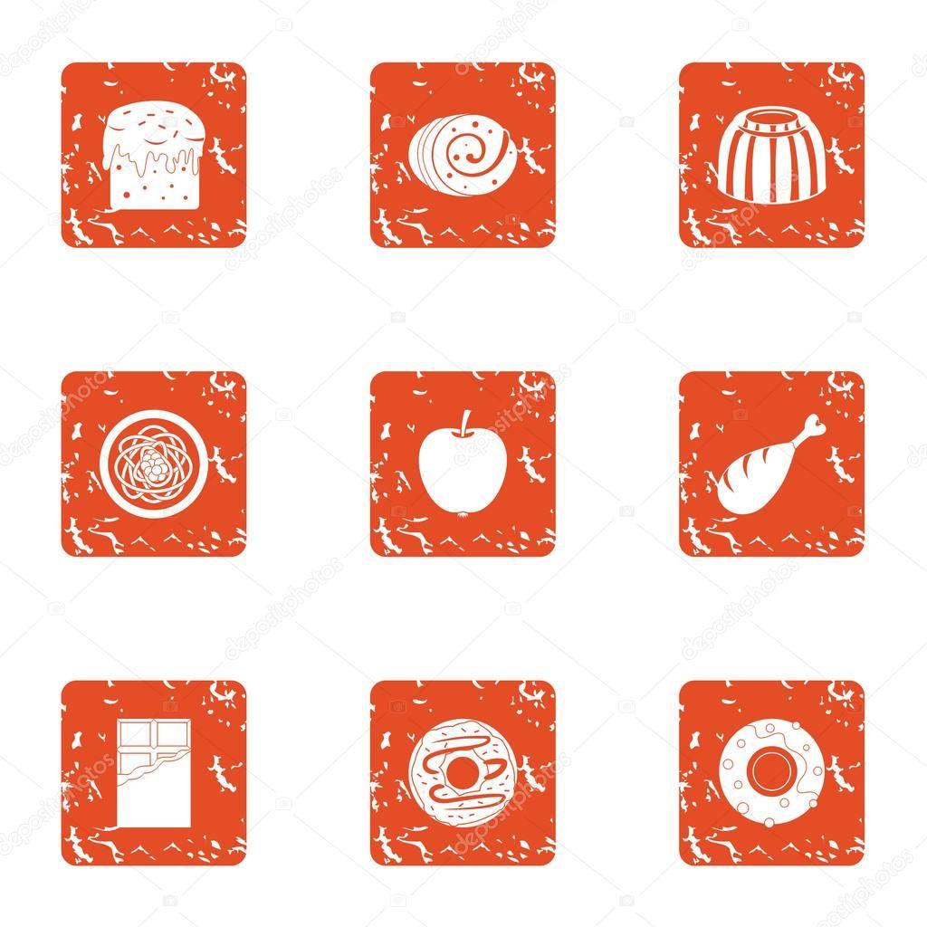 Dulcet icons set, grunge style