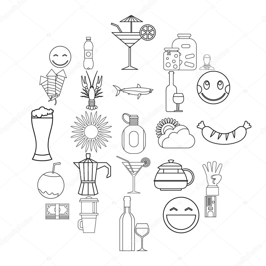 Beer belly icons set, outline style