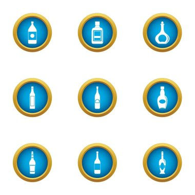 Oil bottle icons set, flat style