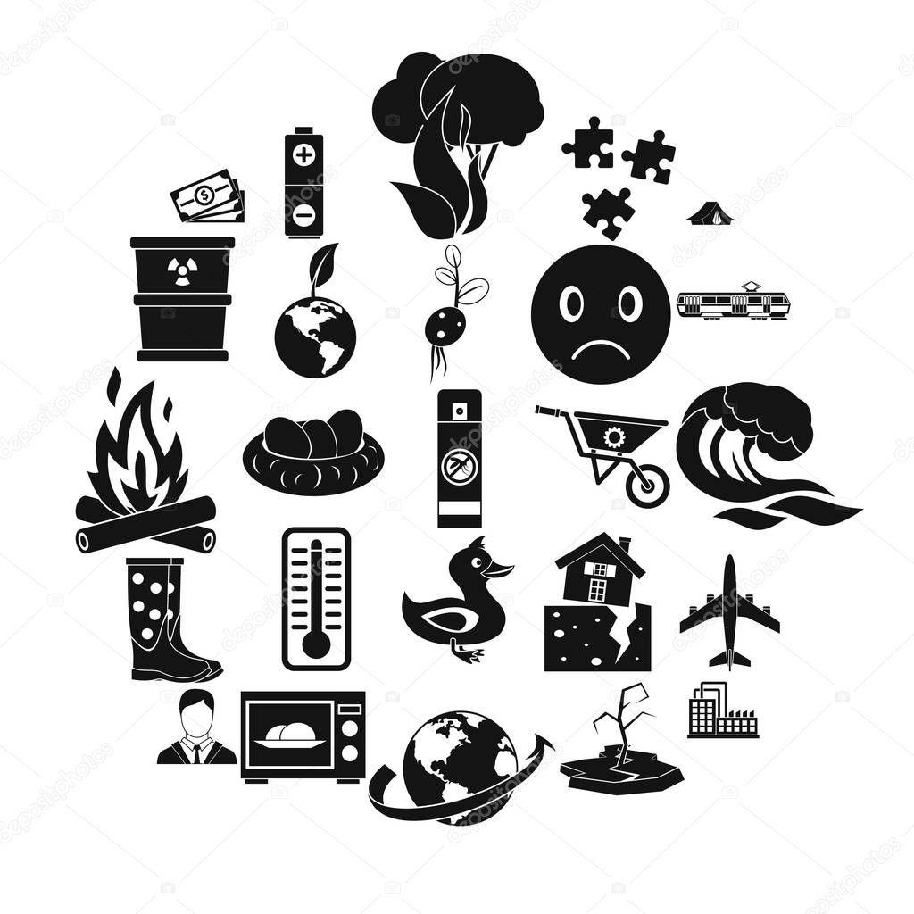 Torrid icons set, simple style