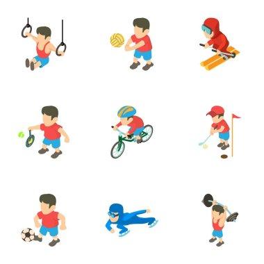 Exercise icons set, isometric style