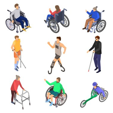 Day persons disabilities icon set, isometric style