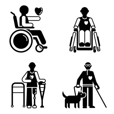 Day persons disabilities icon set, simple style