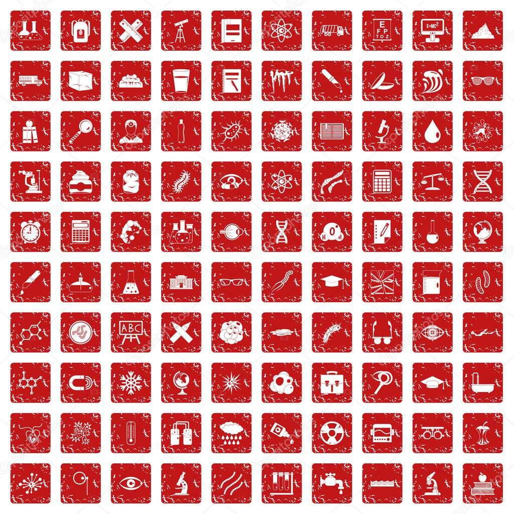 100 microscope icons set grunge red