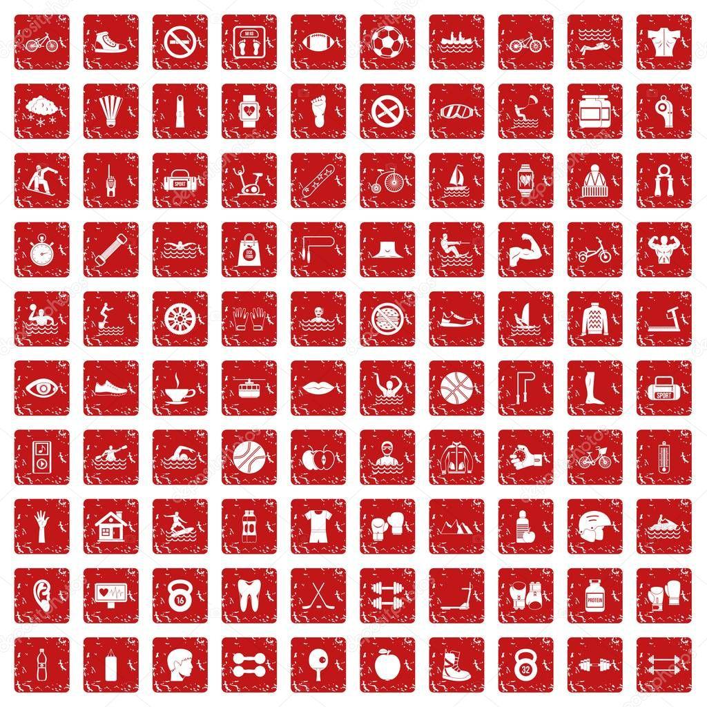 100 men health icons set grunge red