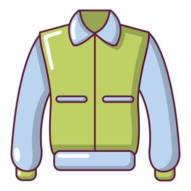 Varsity jacket icon, cartoon style