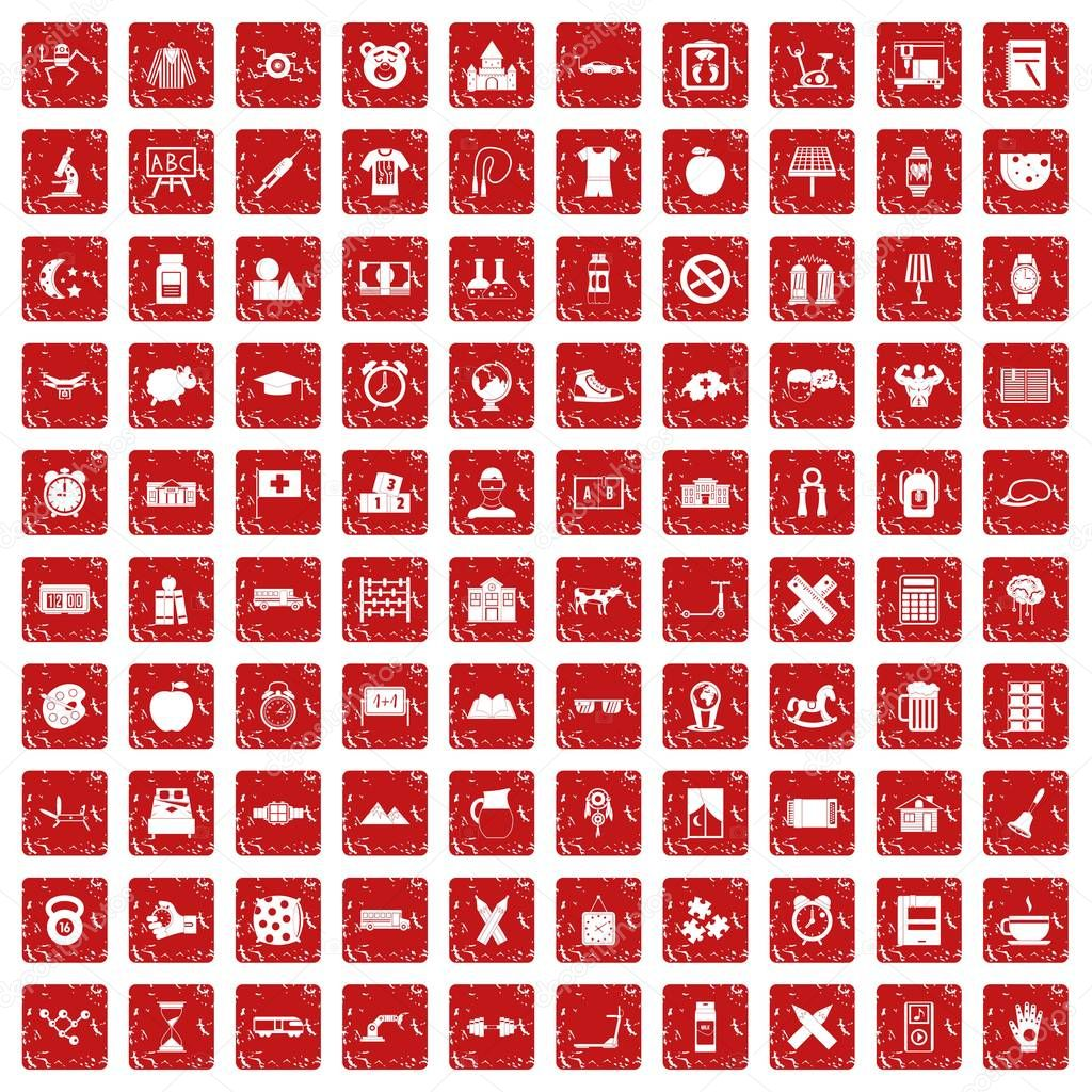 100 alarm clock icons set grunge red