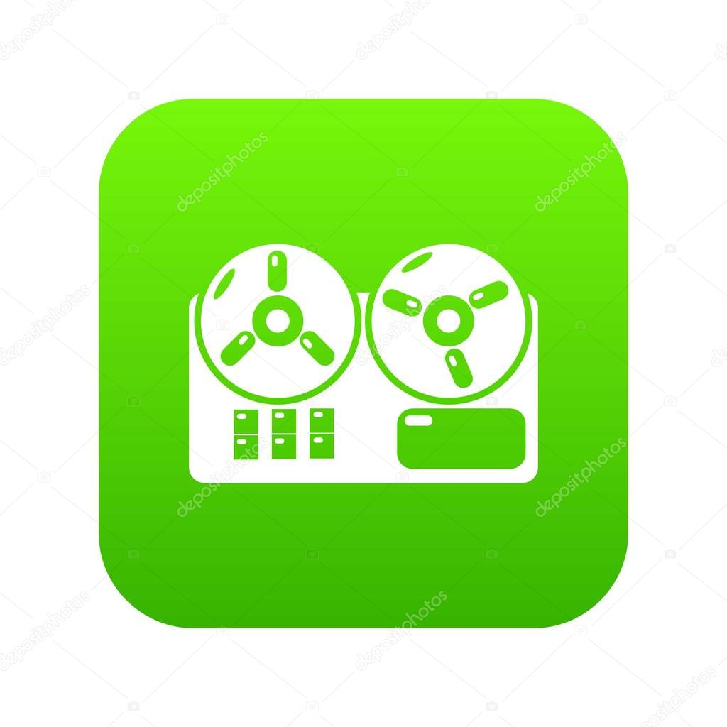 Reel tape recorder icon green vector