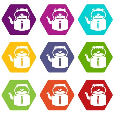 Kettle old icons set 9 vector