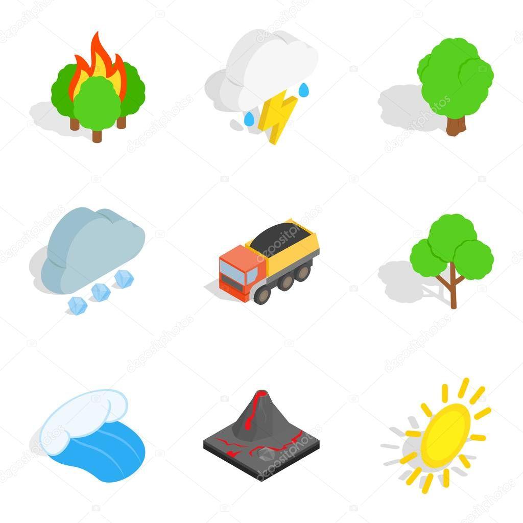 Gas environment icons set, isometric style