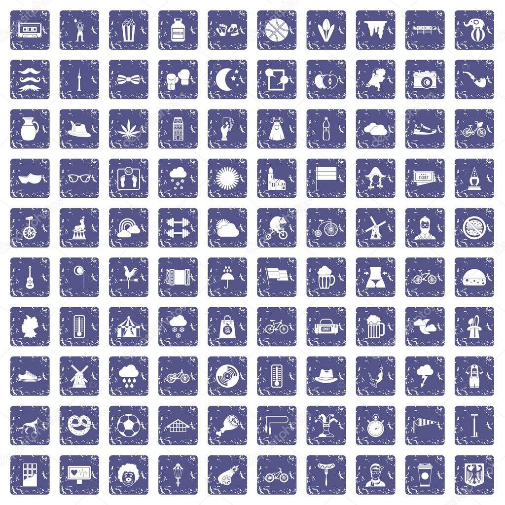 100 bicycle icons set grunge sapphire