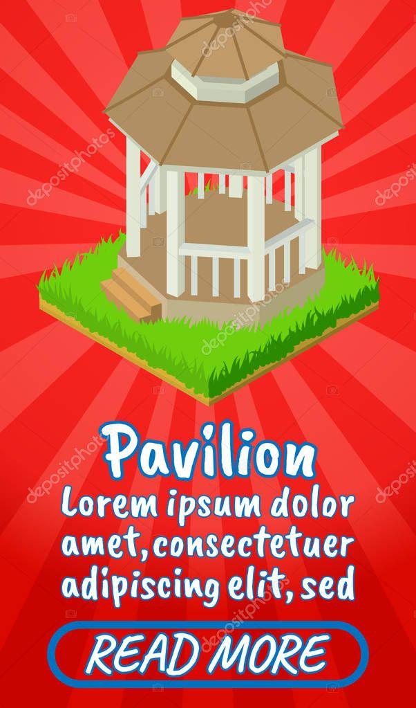 Pavilion concept banner, comics isometric style