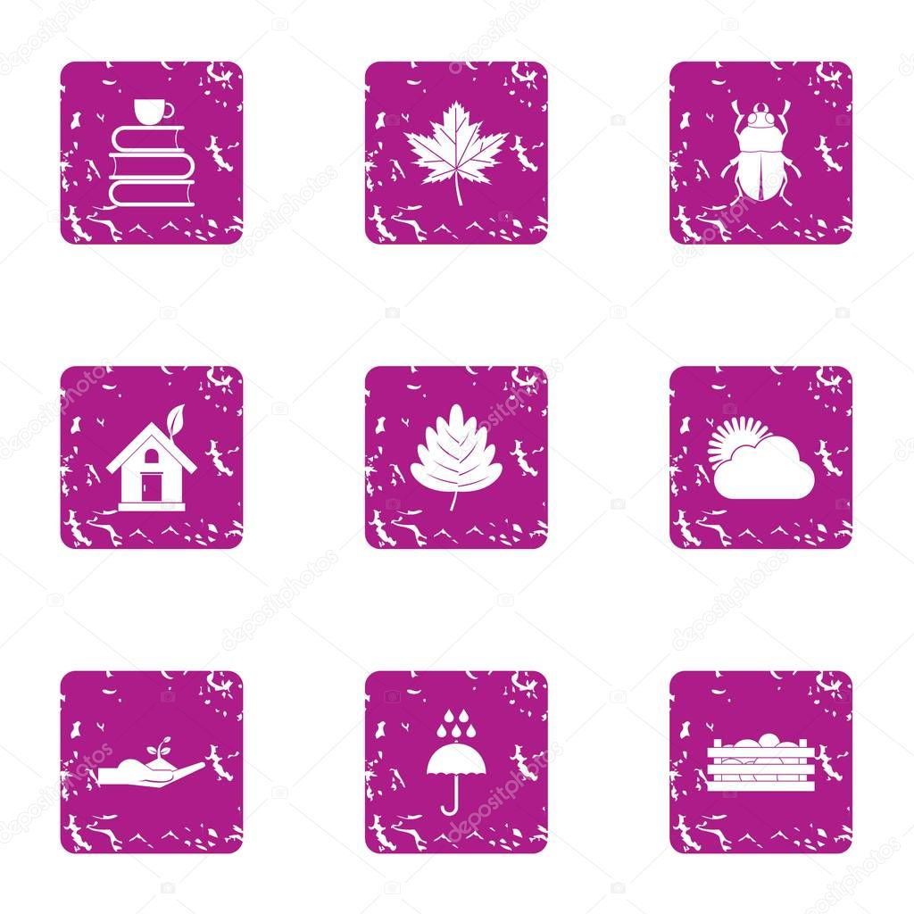 Work in park icons set, grunge style