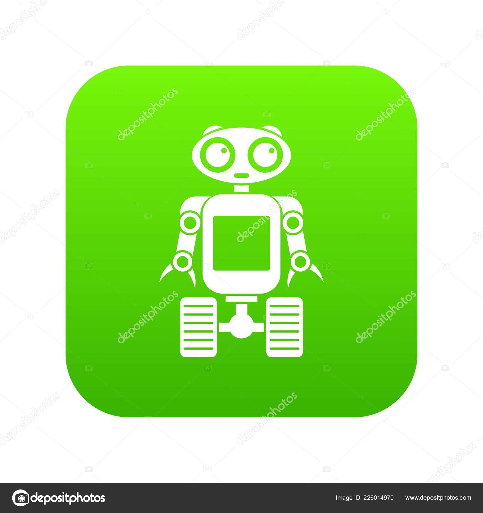 Robot On Wheels Icon Digital Green Stock Vector C Ylivdesign