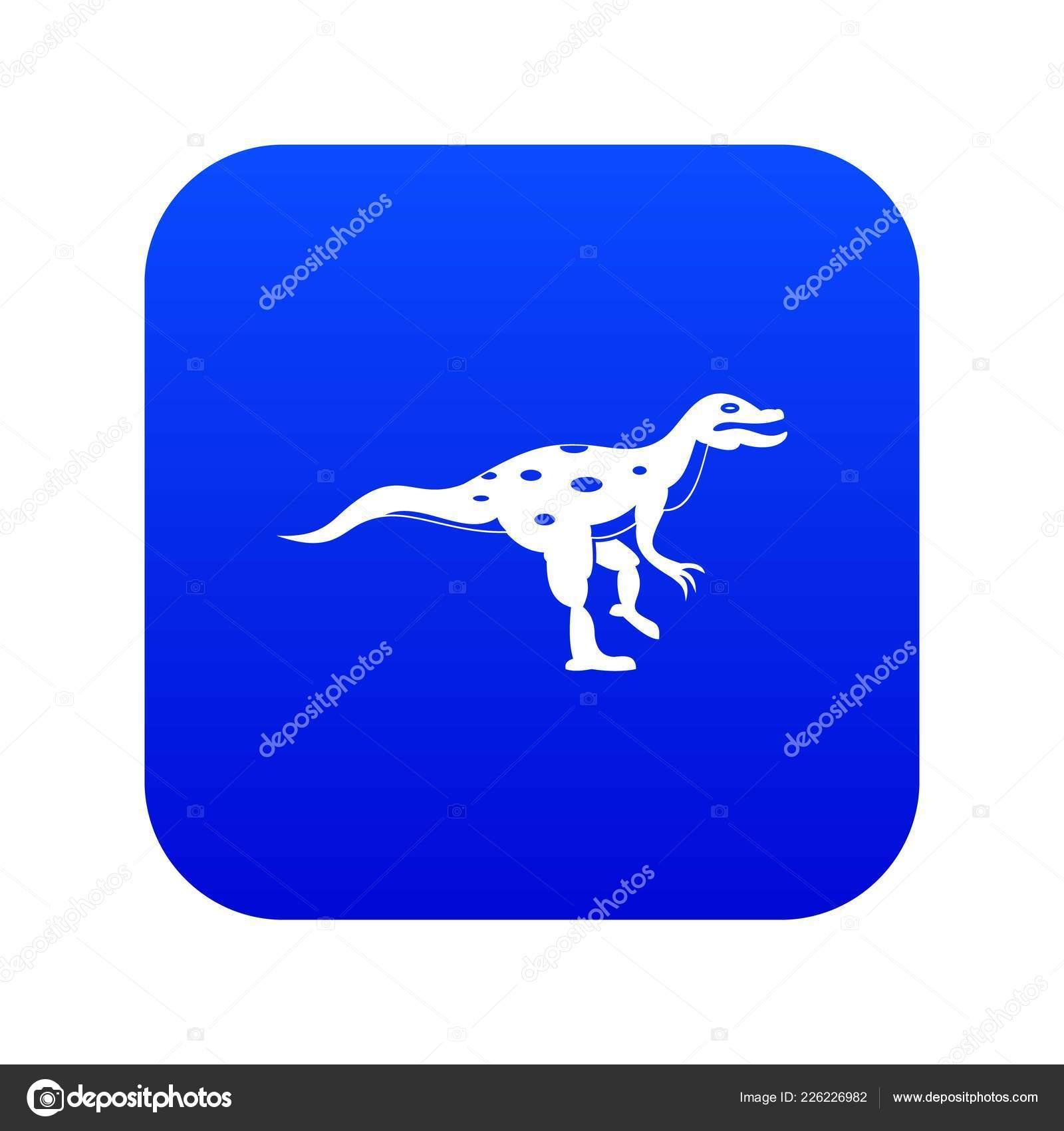 Ornithopod Dinosaur Icon Digital Blue Stock Vector Ylivdesign