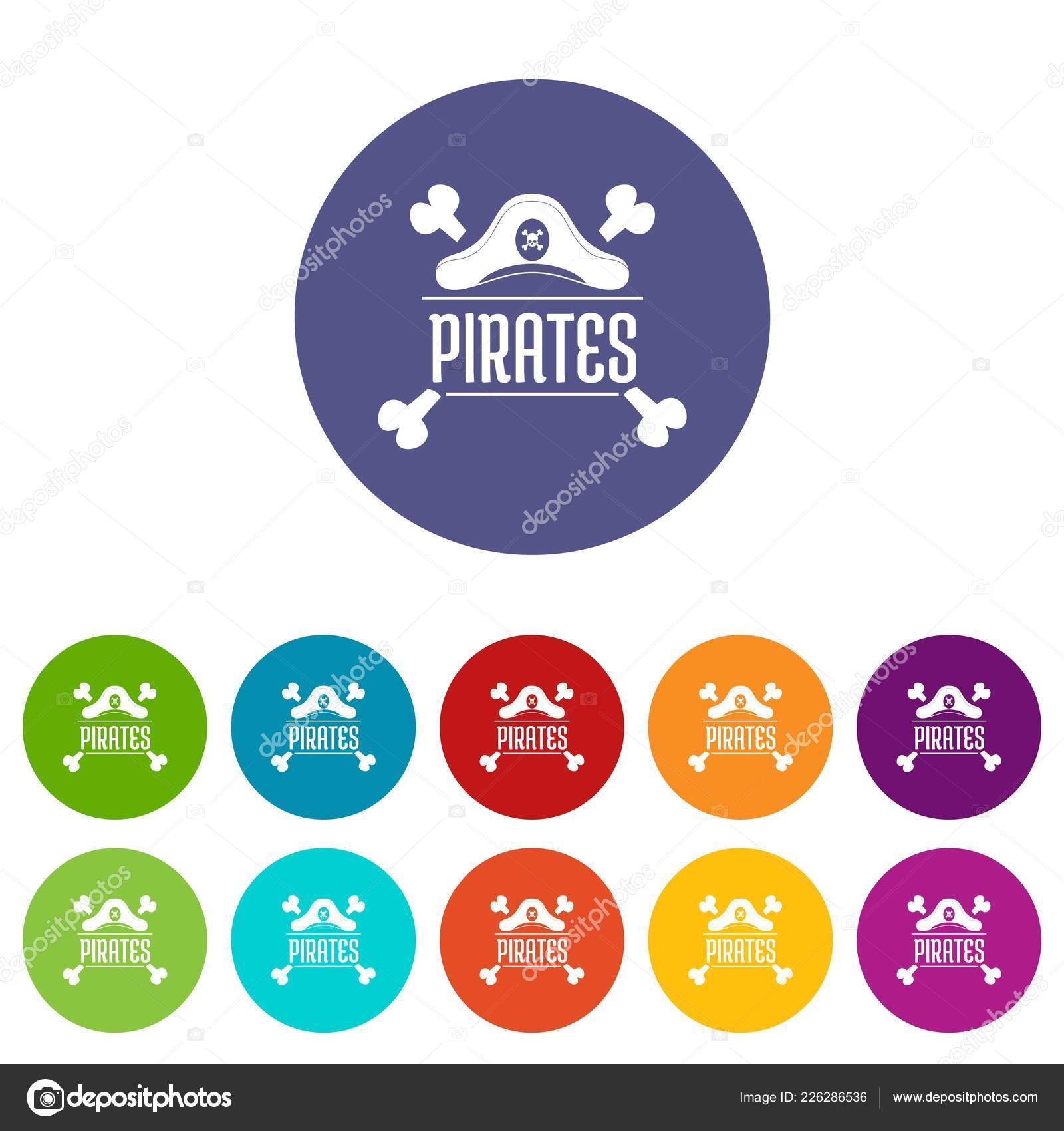 f6712d061267 Pirate bone icons set vector color — Stock Vector © ylivdesign ...