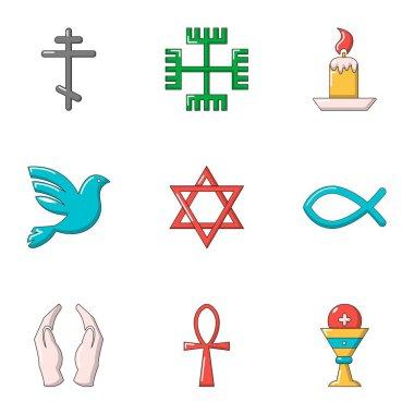 Faith icons set, flat style