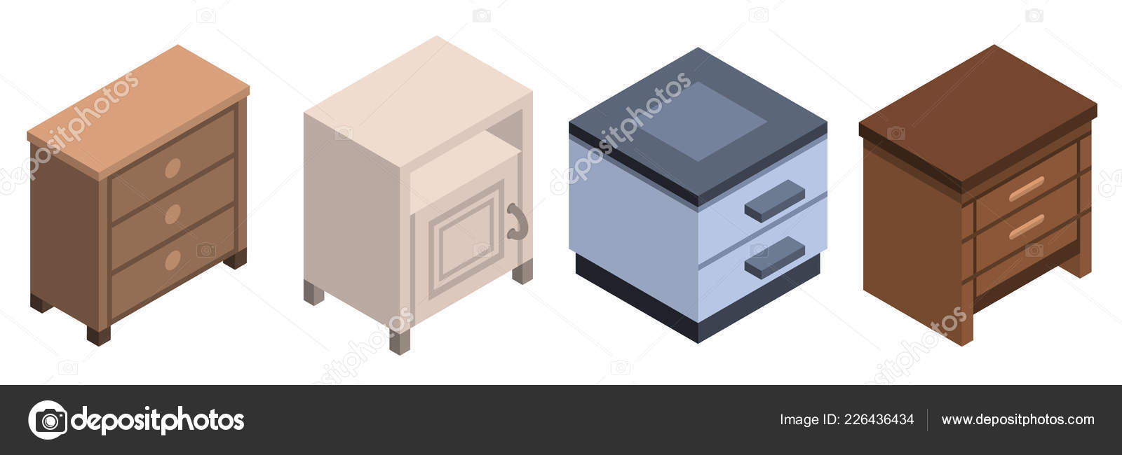 83772cfd6241 Isometric set of nightstand furniture vector icons for web design isolated  on white background — Vector by ...