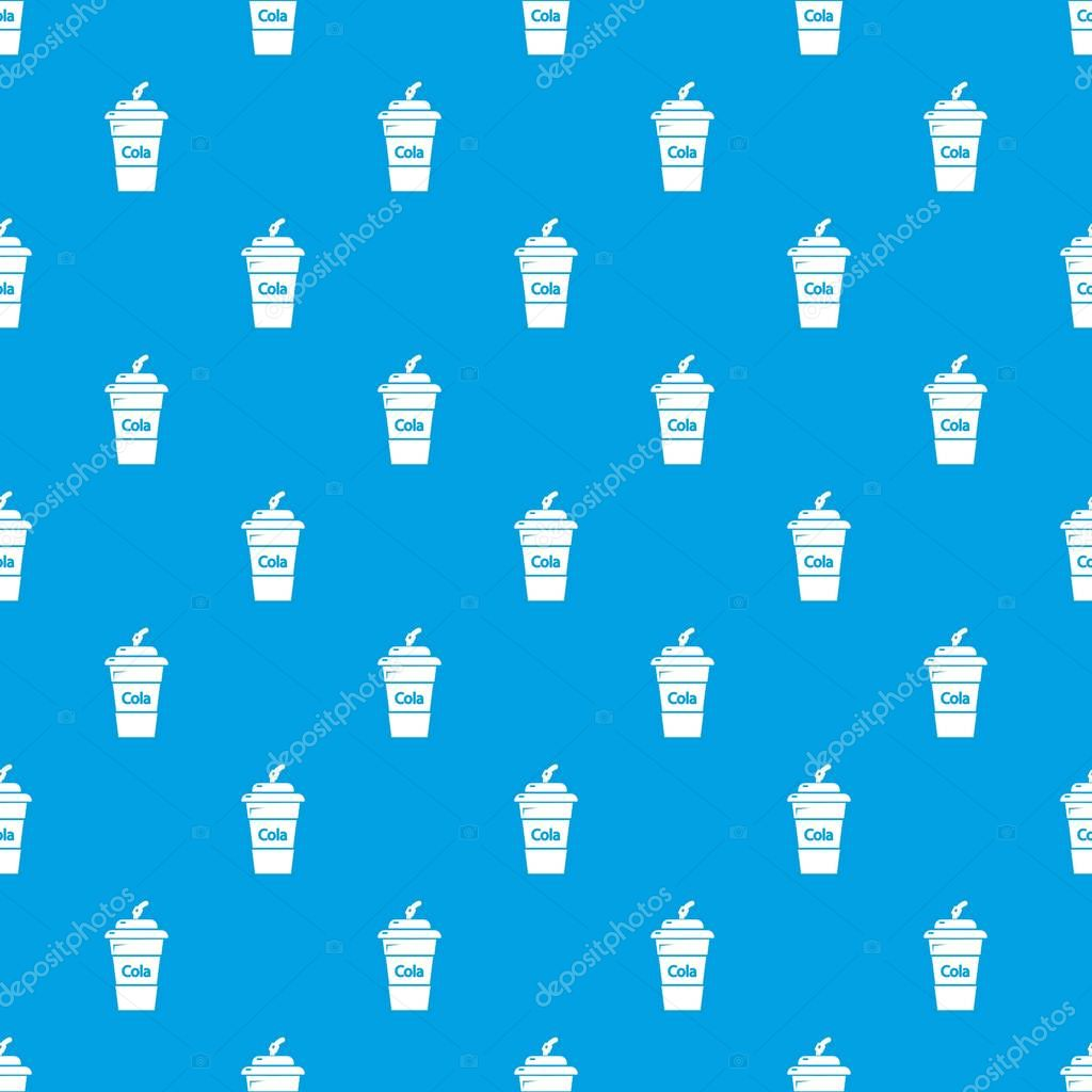 Cola plastic glass pattern vector seamless blue