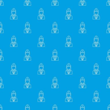 Train conductor pattern vector seamless blue