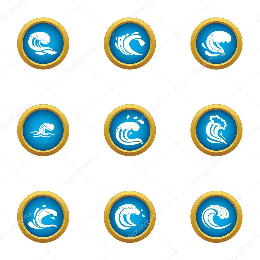 Splash icons set, flat style