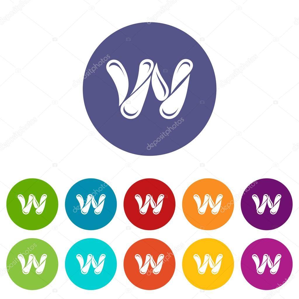 Aqua icons set vector color