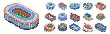 Arena icon set, isometric style