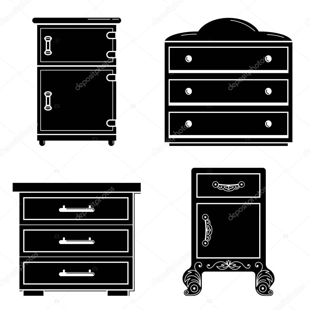 Nightstand icon set, simple style