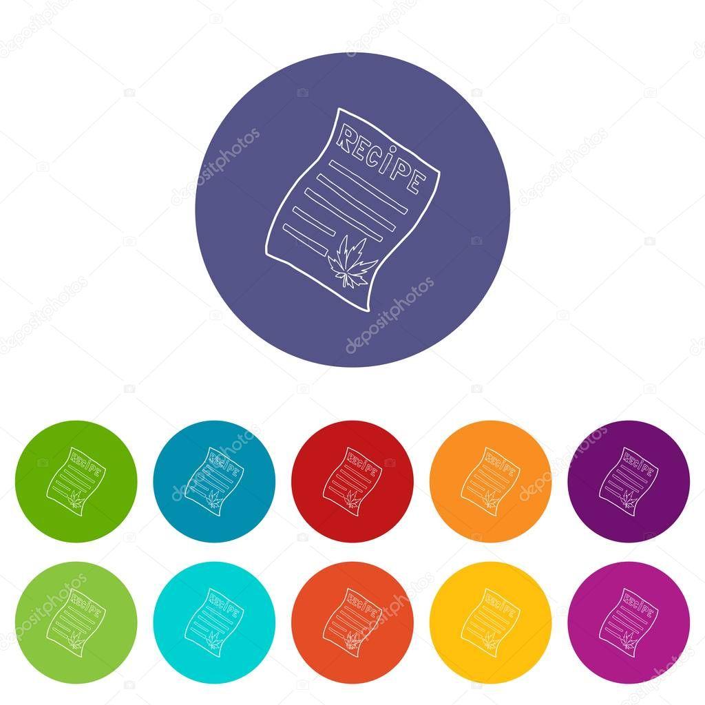 Marijuana recipe icons set vector color