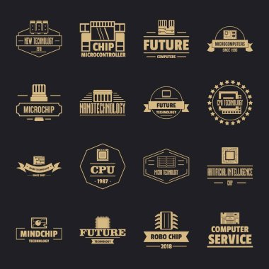 Future computer logo icons set, simple style