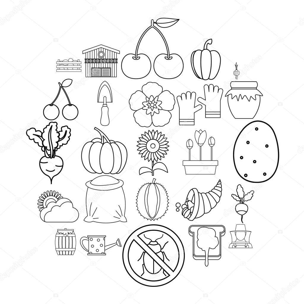 Rural icons set. Outline set of 25 rural vector icons for web isolated on white background