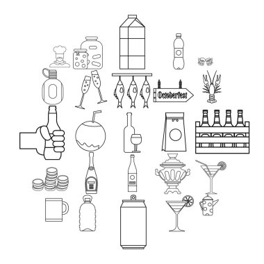 Alcohol icons set, outline style