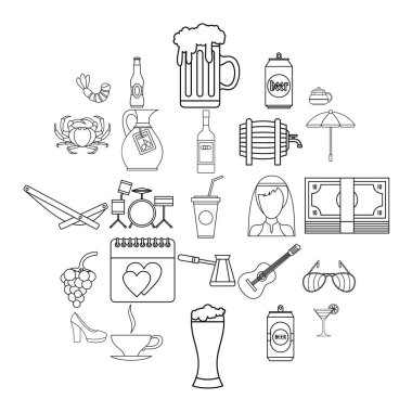 Strong drink icons set, outline style