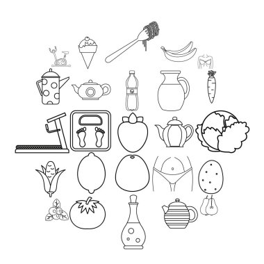 Diet food icons set, outline style