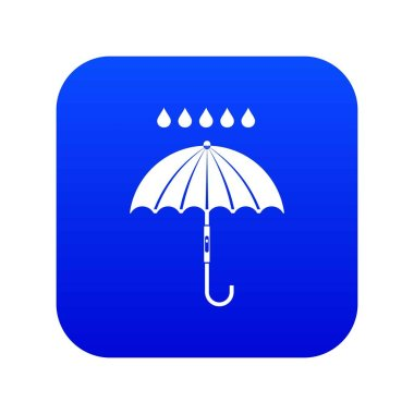 Umbrella and rain drops icon digital blue