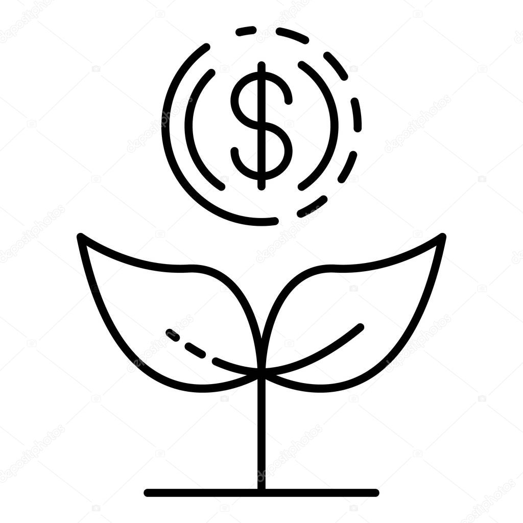 Increase money plant icon, outline style