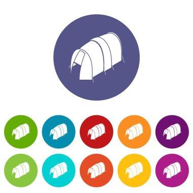 Long tent icons set vector color