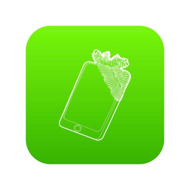 Gadget in glued reparation icon green vector