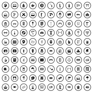 100 culture icons set, simple style
