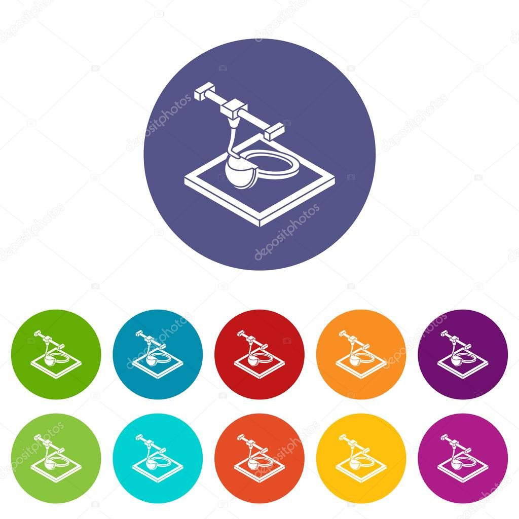 Ring d printing icons set vector color