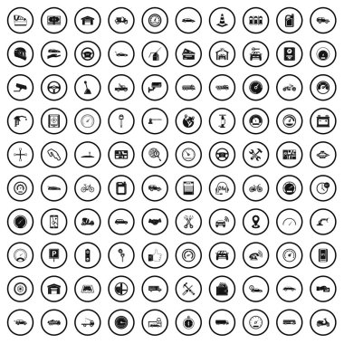 100 garage icons set in simple style for any design vector illustration