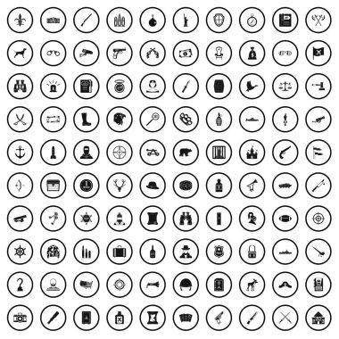 100 guns icons set, simple style
