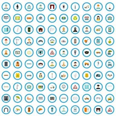 100 city icons set, flat style