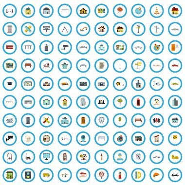 100 city planning icons set, flat style